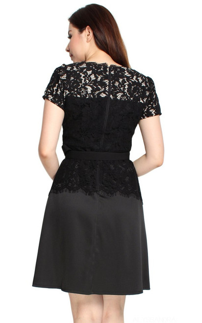 5961cd4971 ... Lace Top Flare Satin Dress - Black