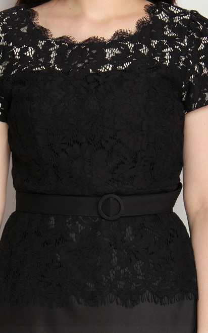 d5241c4150 ... Lace Top Flare Satin Dress - Black ...