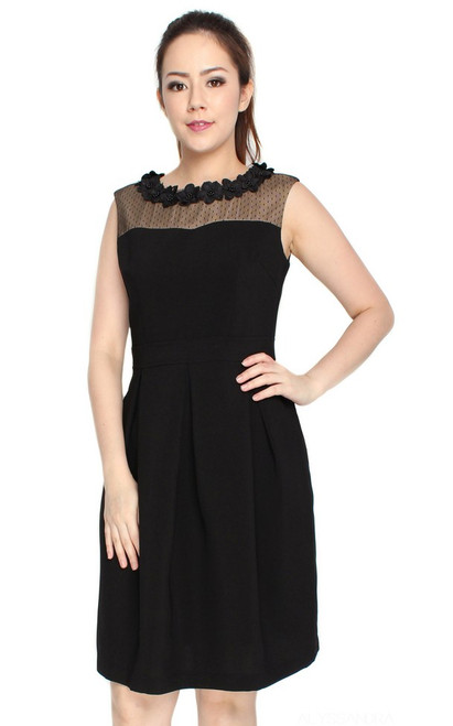 Floral Motif Neckline Dress - Black