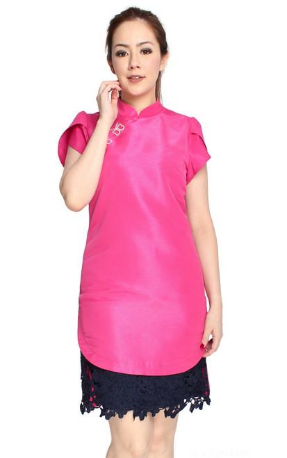 Guipure Lace Hem Cheongsam