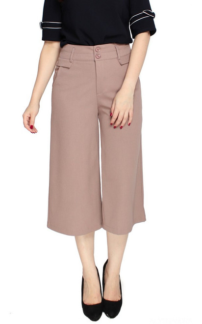 Wide Leg Culottes - Taupe