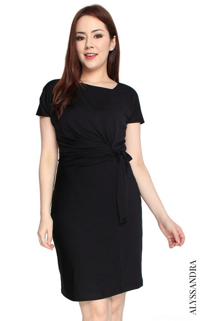 Side Tie Jersey Dress - Black