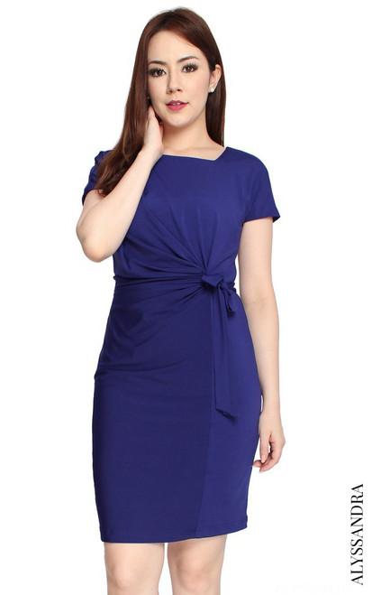 Side Tie Jersey Dress - Indigo