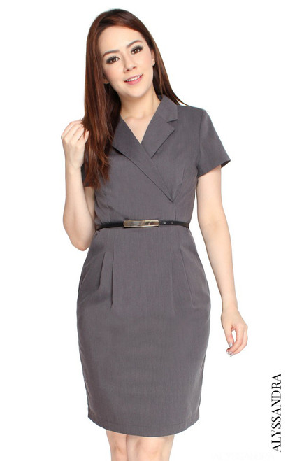 Tux Pencil Dress - Heather Grey
