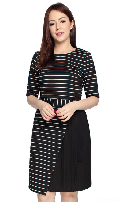 Striped Side Pleats Dress