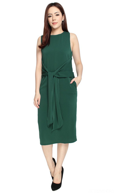 Tie Front Dress - Forest Green