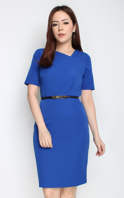 Asymmetrical Origami Pencil Dress - Cobalt Blue