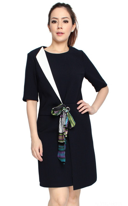 Scarf Overlap Dress