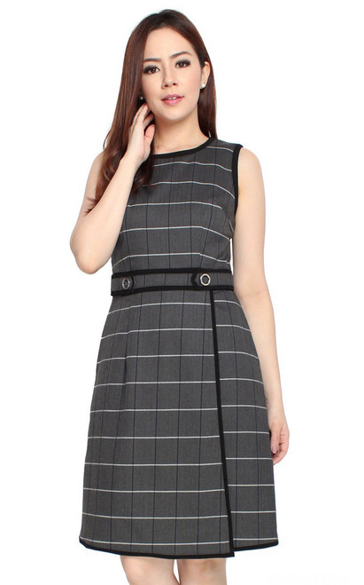 Checkered Overlap Dress - Grey