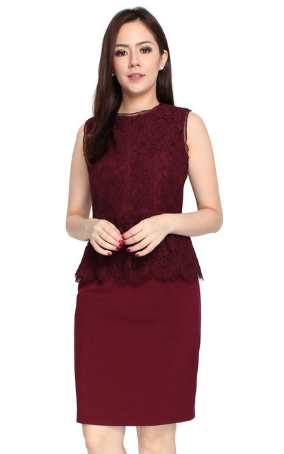 Lace Top Peplum Dress - Wine