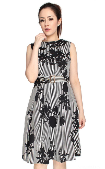Monochrome Boat Neck Dress