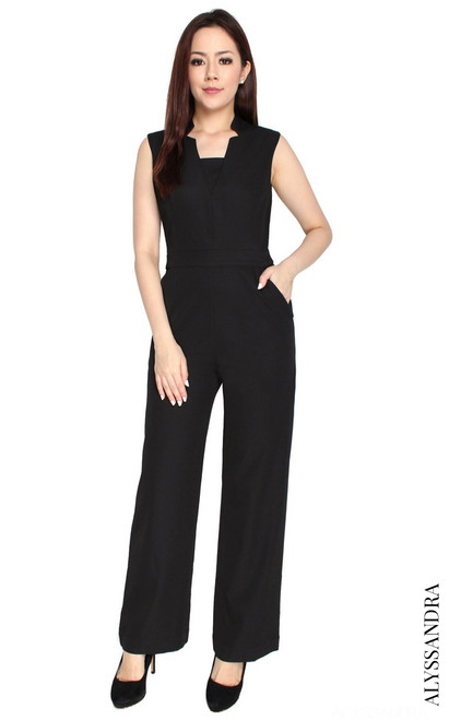Notch Collar Jumpsuit - Black