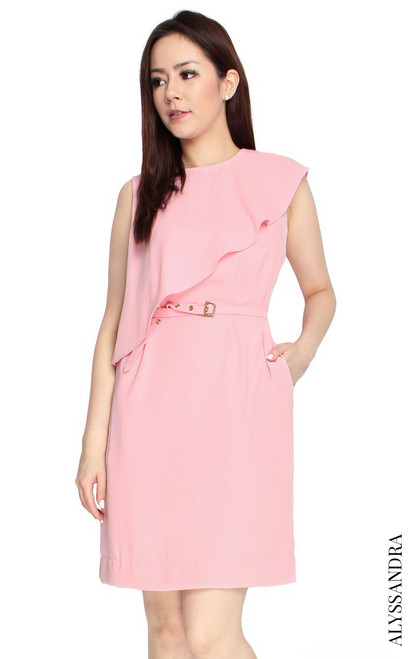 Ruffled Overlay Dress - Pink