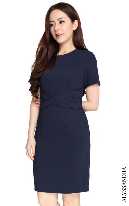 Criss Cross Waist Dress - Navy