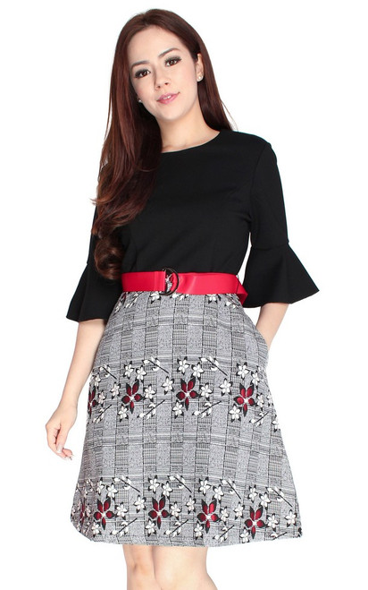 Flared Sleeves Floral Dress