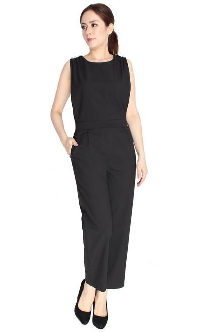 Pearl Studs Jumpsuit - Black