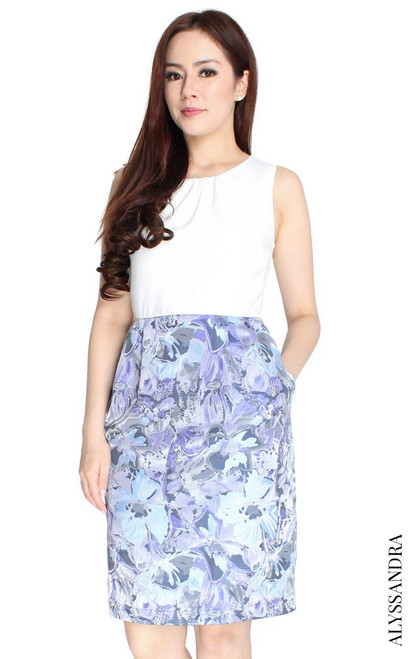 Brocade Bottom Pencil Dress - White