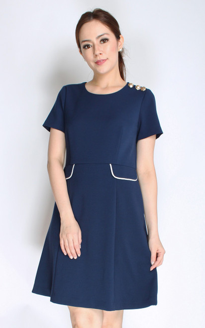 Gold Buttons Flare Dress - Navy
