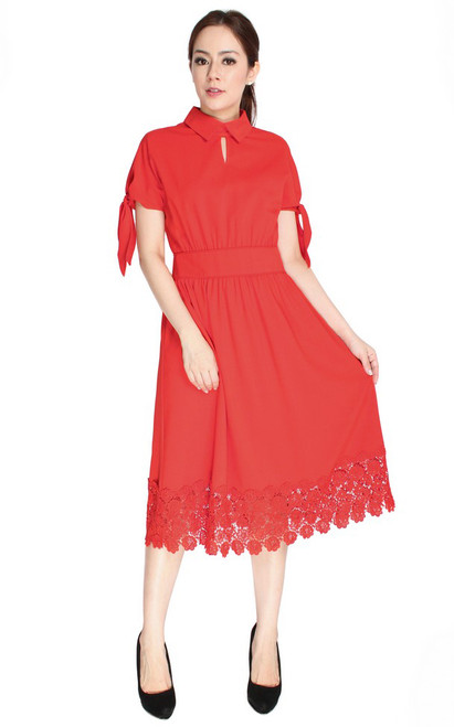 Crochet Hem Midi Dress - Vermillion