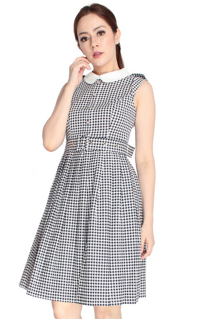 Houndstooth Flare Shirt Dress - Black