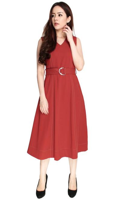 Contrast Stitch Midi Dress - Rust