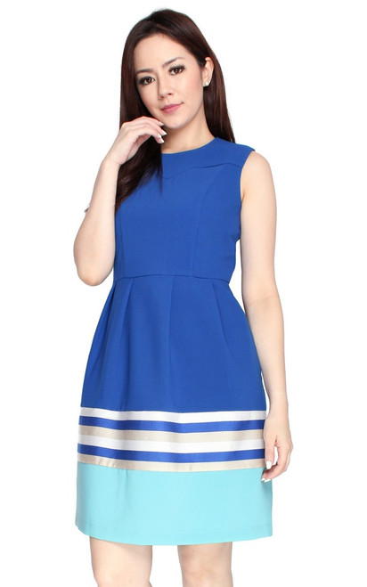 Colourblock Hem Dress - Aqua Blue