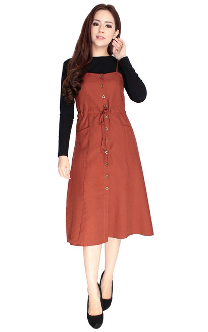 Pinafore Dress - Terracotta
