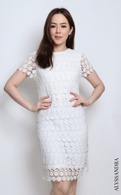 Crochet Lace Sheath Dress - White