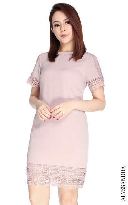 Crochet Trim Shift Dress - Dusty Pink