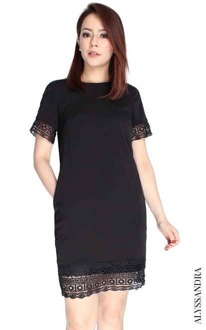 Crochet Trim Shift Dress - Black