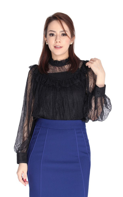 Victorian Lace Top - Black