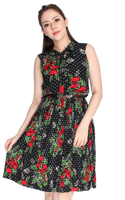 Floral Neck Tie Pleated Dress