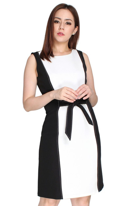 Tie Waist Contrast Pencil Dress - White