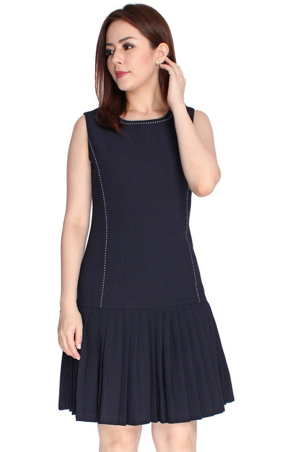 Pleated Drop Waist Dress - Midnight Blue