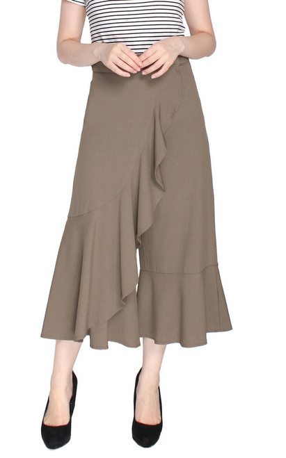 Ruffled Overlay Culottes - Taupe