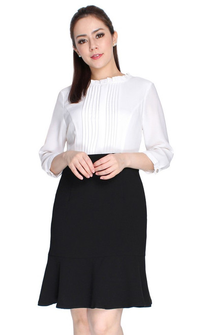 Pintuck Flute Hem Dress - White