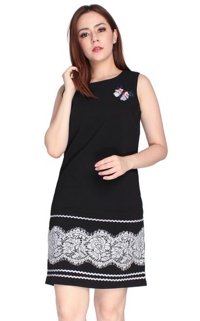 Lace Hem Shift Dress - Black