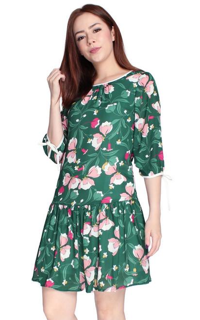 Floral Drop Waist Dress - Green