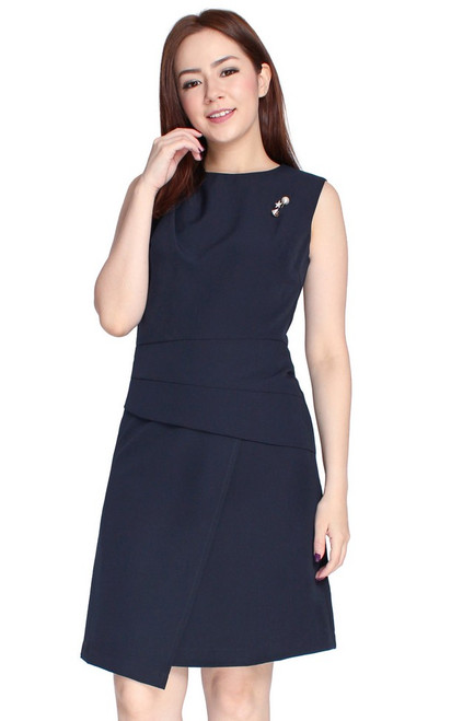 Origami Wrap Over Dress - Midnight Blue