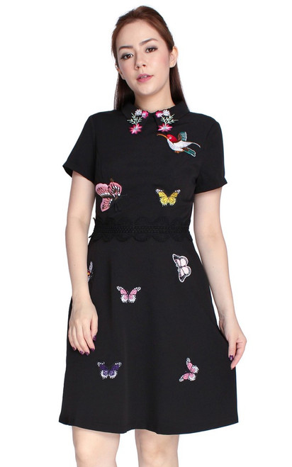 Embroidered Butterflies Collared Dress