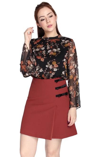Side Ribbons Skirt - Rosewood