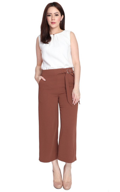 Side Buckle Ankle Culottes - Chestnut