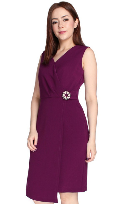 Brooch Wrap Over Dress - Deep Berry