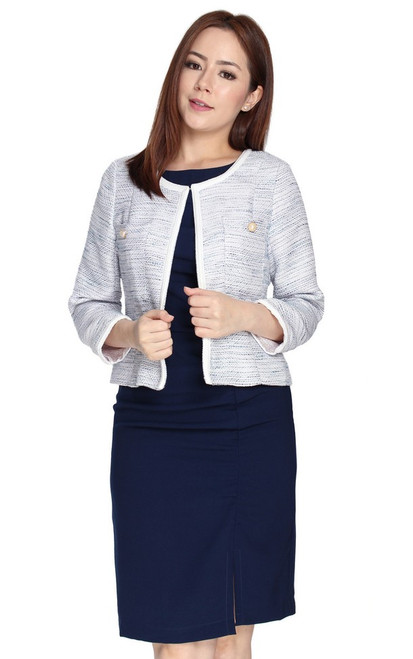 Tweed Jacket - Soft Blue