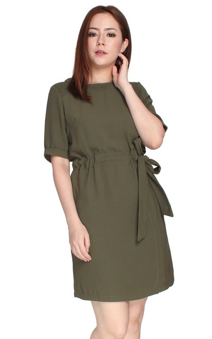 Drawstring Waist Dress - Army Green