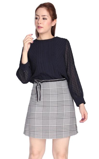Checkered A-Line Skirt