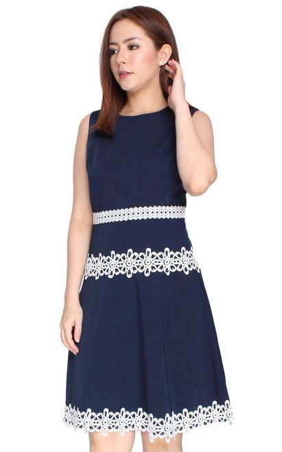 Crochet Trim Flare Dress - Navy