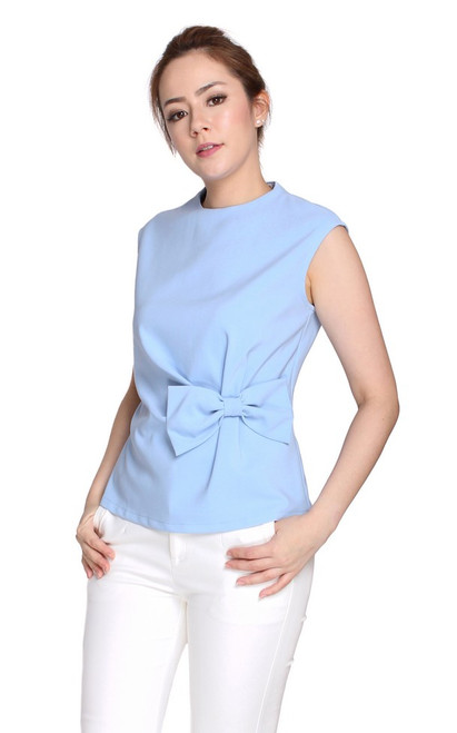 Side Bow Top - Baby Blue