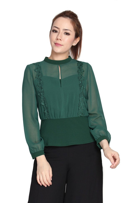 Crochet Blouson Chiffon Top - Forest Green