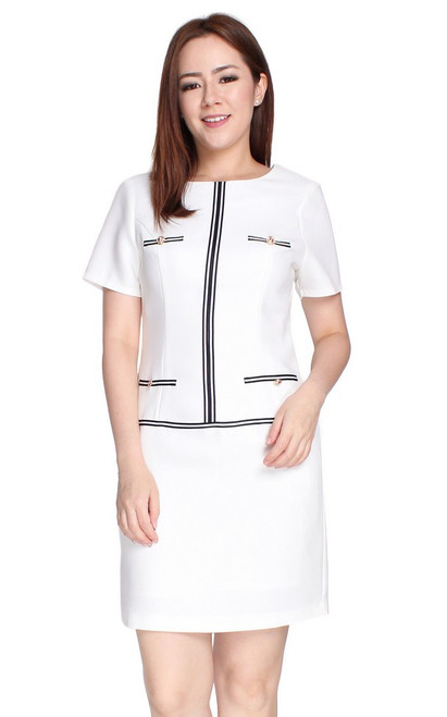 Contrast Trim Shift Dress - White
